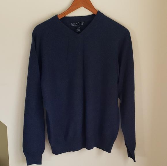 Giasone Cashmere Sweater Men's Medium Blue
